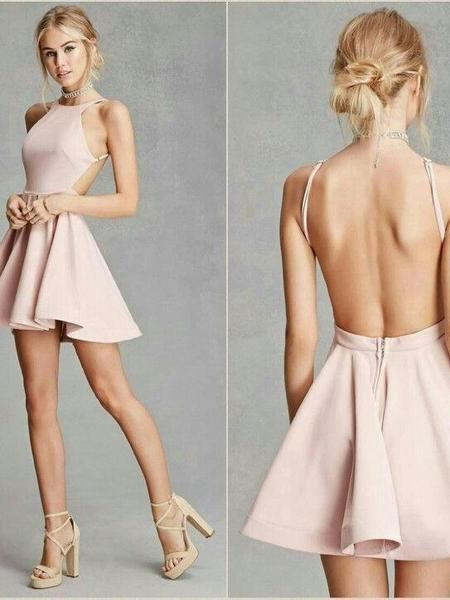 Sexy Satin Jewel Neckline backless Short A-line Homecoming Dresses C46 #backlesscocktaildress
