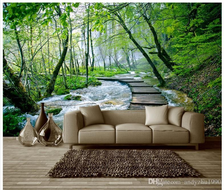 3d Wallpaper Custom 3d Murals Wallpaper Landscap Little Stream Shuimu Setting Wall Pier Beautiful Trees Wall Paper Mural Wallpaper 3d Wallpaper 3d Living Room