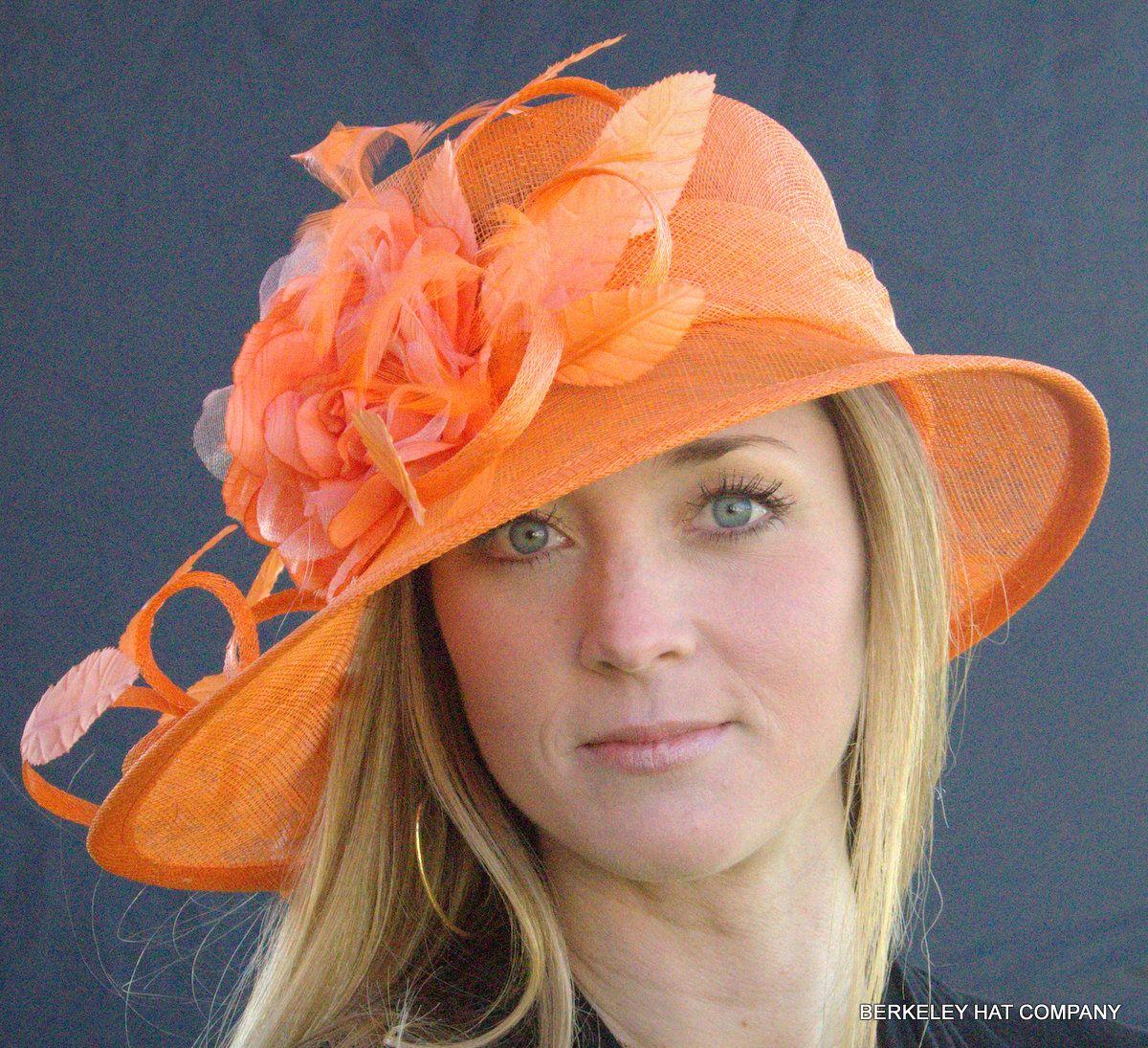 Orange Kentucky Derby Church Wedding Feather Flower Sinamay Wide Dress Hat 58