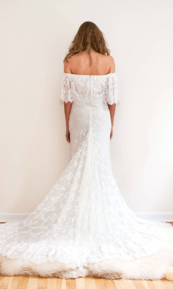 Ivory Lace Indie Off the Shoulder Wedding Dress - \