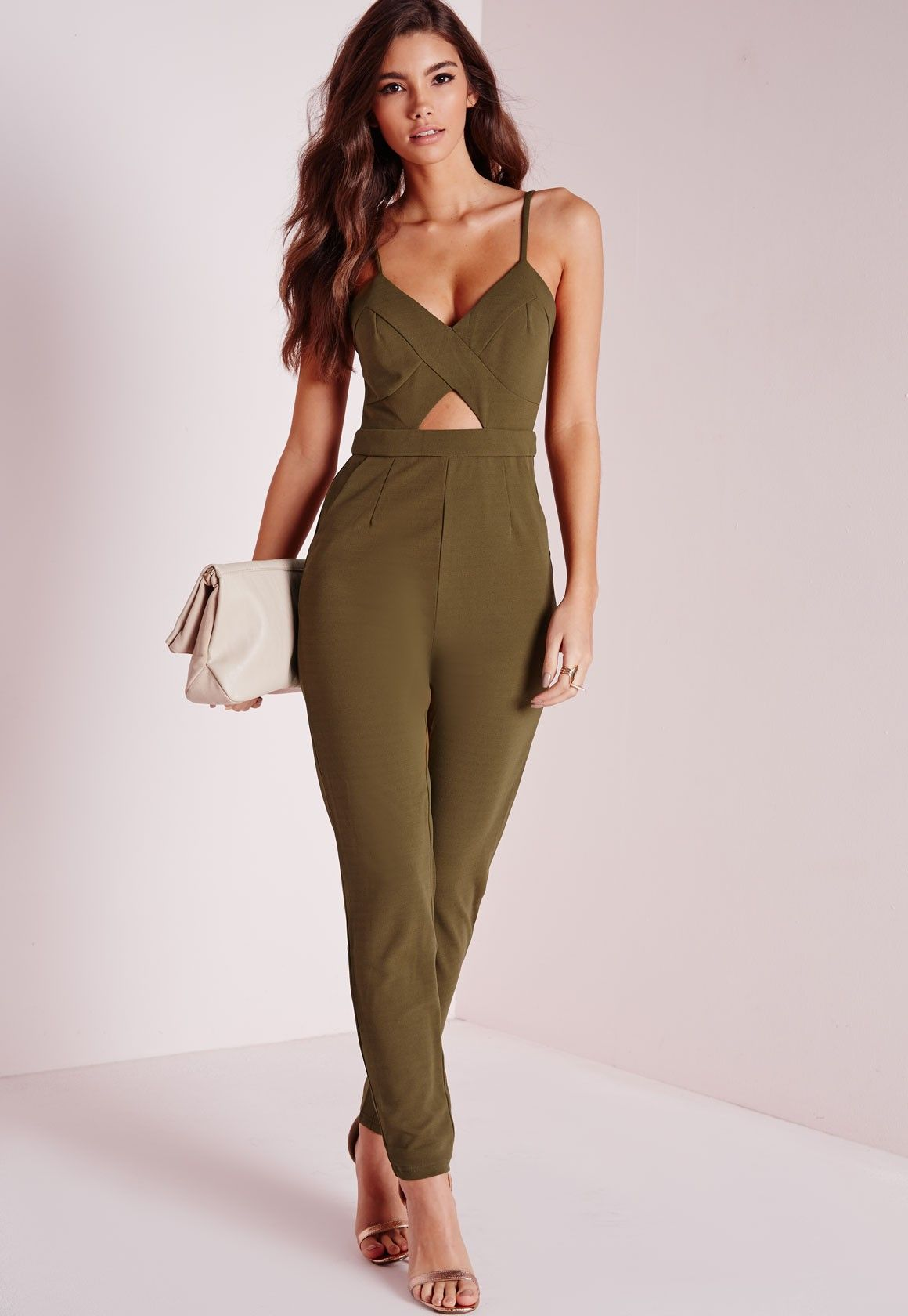 873d757aed87 Missguided - Strappy Cut Out Jumpsuit Khaki