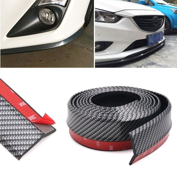 Universal PU Black Front Bumper Lip Splitter Chin Spoiler Body Trim For BMW