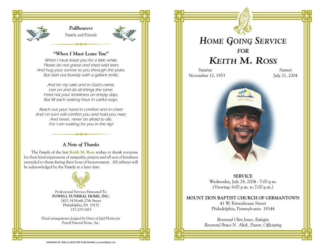 Free Funeral Program Templates | Funeral Program Sample Order Of Service  Free Funeral Programs Downloads