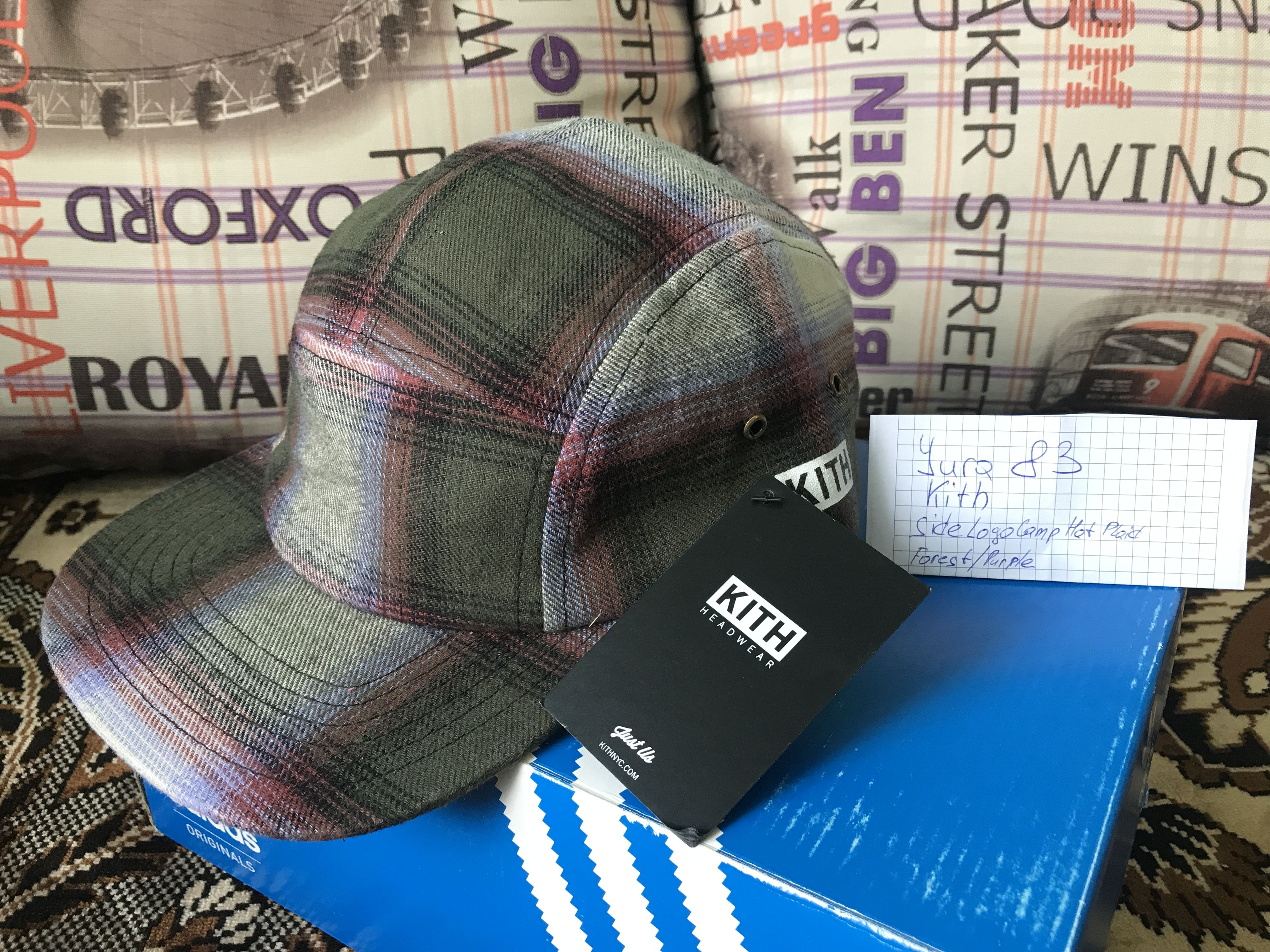 f5921a8a4b8 Kith Side Logo Camp Hat Plaid Forest   Purple Condition - new (no tags  inside) Size - one for all (regulation) The price is 39