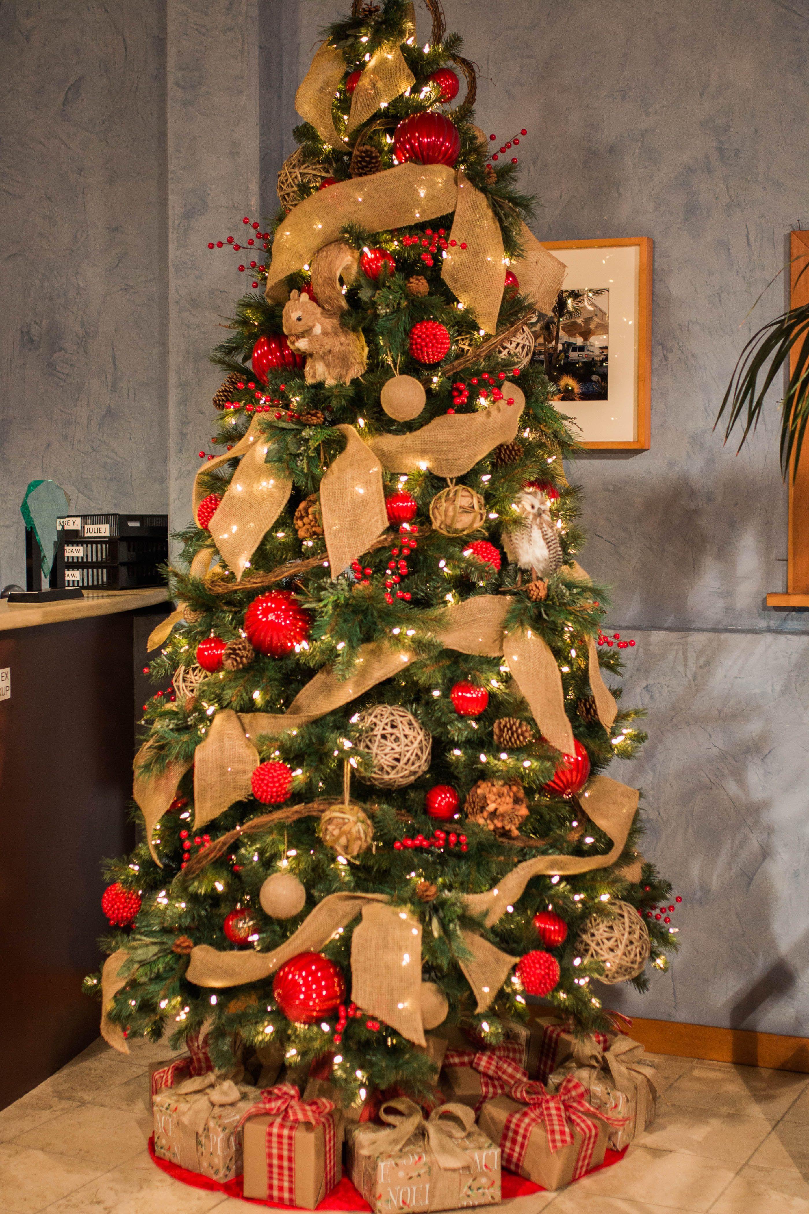 burlap ribbon decorated christmas tree rental commercial christmas decorator christmas tree rentals christmas decoration rentals wreath rentals