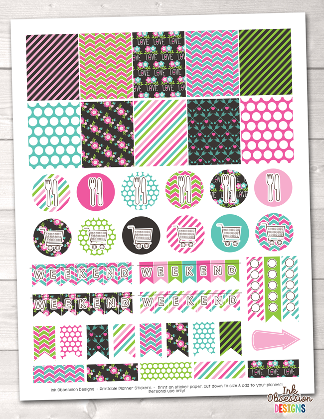 Floral Elements Pink Printable Planner Stickers Weekly Kit – Instant Download PDF for your Erin Condren Life Planner