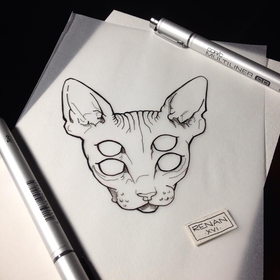 Renan Arts Tattoo On Instagram Dark Cat Art Available For Tattoo Love Art Tattoo In 2020 Cat Tattoo Drawings Art Tattoo