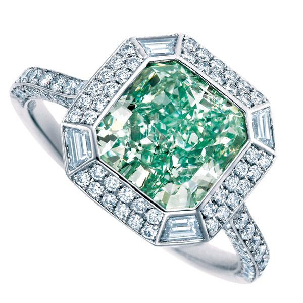 Tiffany Art Deco inspired cushion cut blue green diamond engagement ring  surrounded by brilliants.