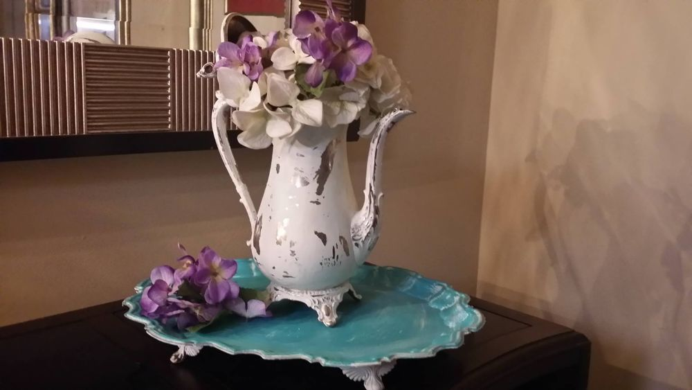 Vintage Shabby Silver Plated Tea Pot Flower Vase Chic Teal Tray