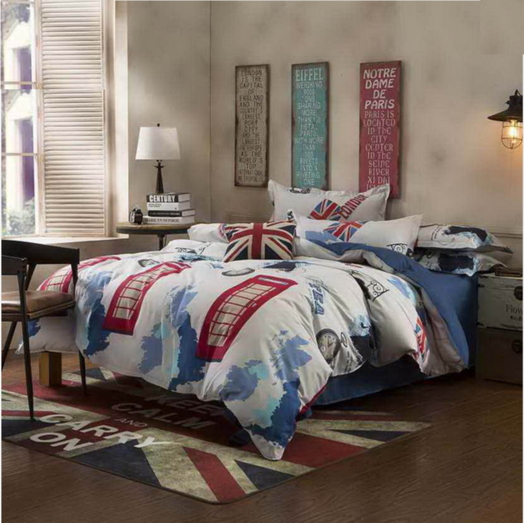 White and red bed sheets - Navy Blue And White With Red Print Men S Teenager S Bedding Set Duvet Cover King Queen Full