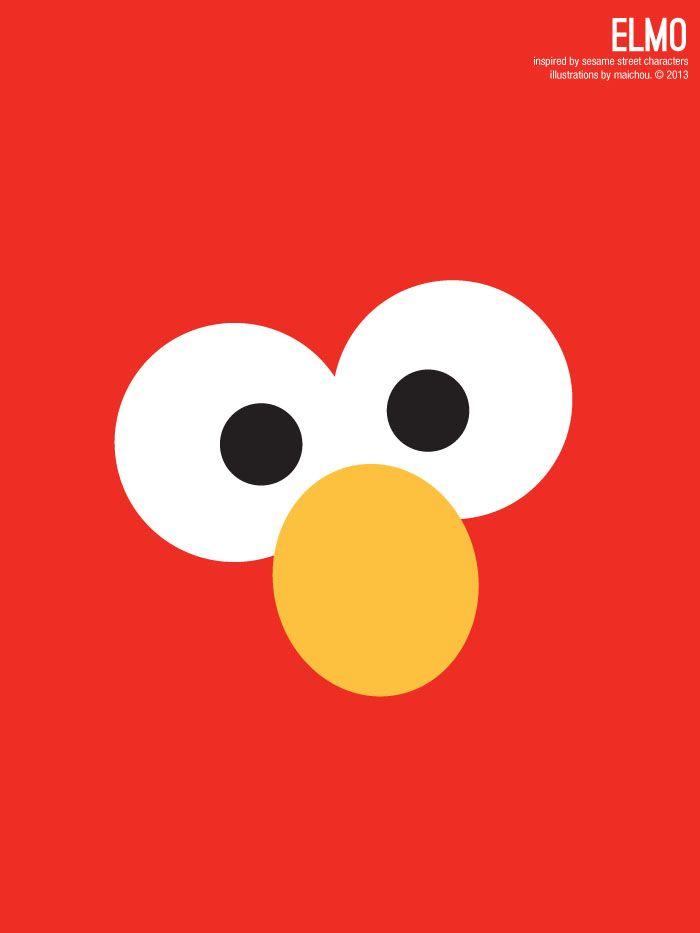 Sesame Street Elmo Illustration Poster via design. bake. run ...