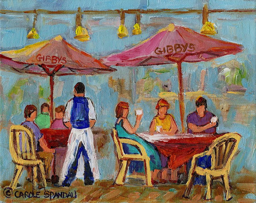 Italian Cafe Paintings Montreal Outdoor Terrace City Scene Painting