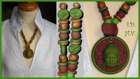 collier Buddha marron et vert