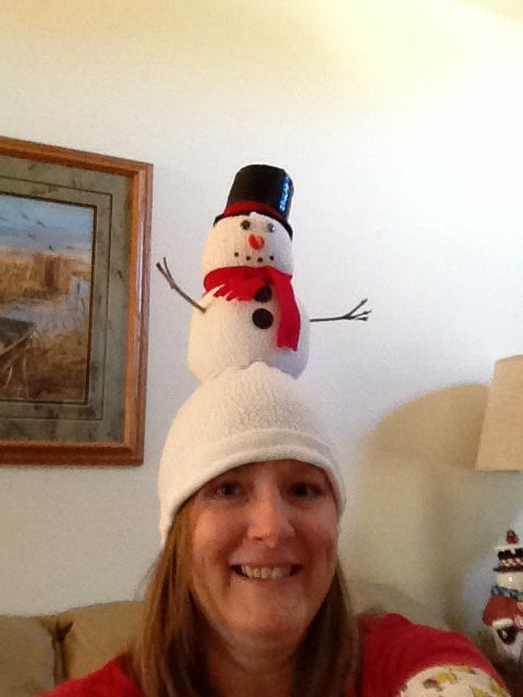 Our family does a crazy hat exchNge every year and it becomes a challenge to come up with new ideas. This is my Snowman hat made from sweatshirt sleeve turned inside out. A little top heavy bit cute. #crazyhatdayideas Our family does a crazy hat exchNge every year and it becomes a challenge to come up with new ideas. This is my Snowman hat made from sweatshirt sleeve turned inside out. A little top heavy bit cute. #crazyhatdayideas