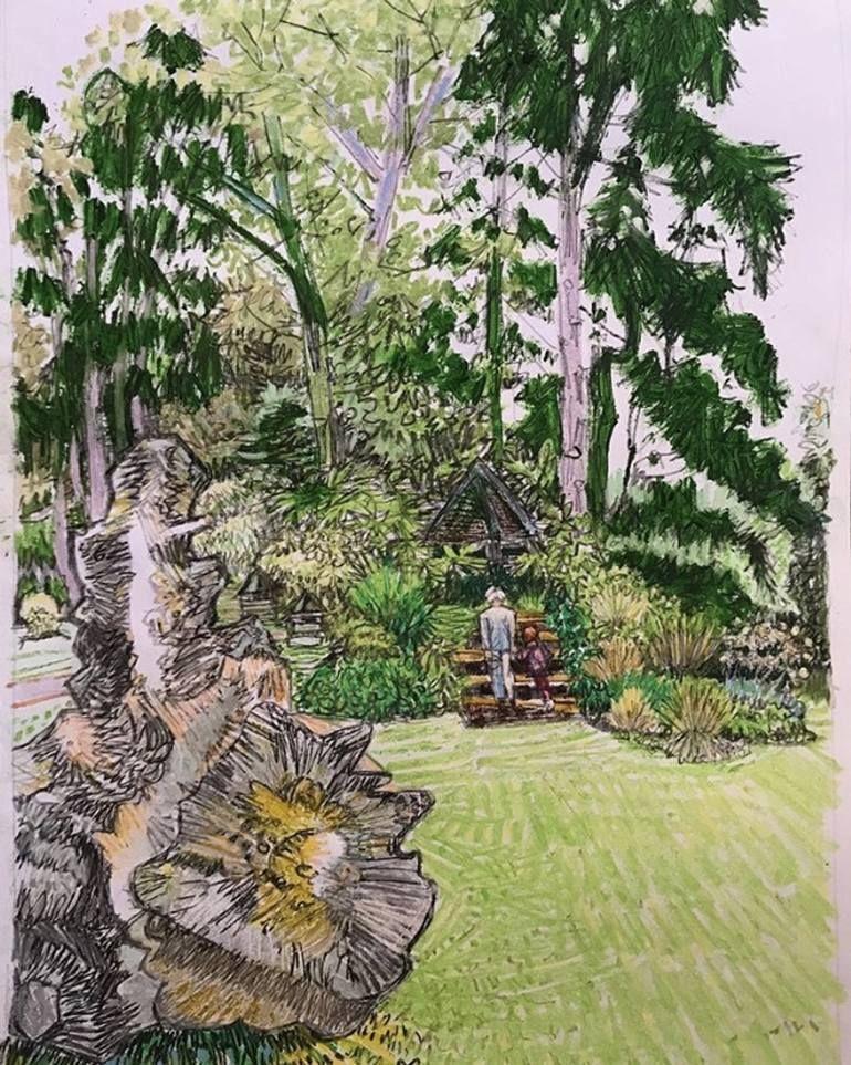 Original Garden Drawing by Darren Hoskins | Folk Art on Paper | Spring and Winter