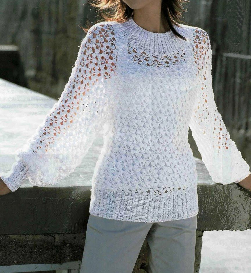 Summer Sweater Knitting Patterns : Free Knitting Patterns: Summer white pullover White Crochet blouses,vest,tu...