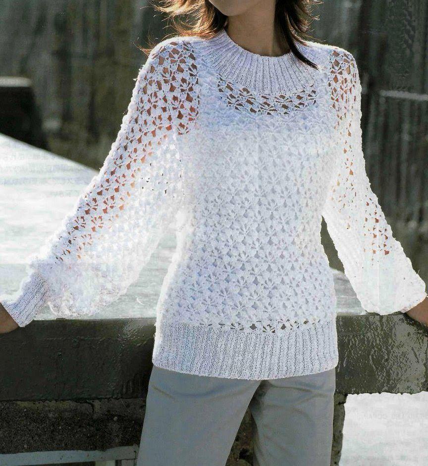 Summer Sweater Knitting Patterns : Free Knitting Patterns: Summer white pullover White Crochet blouses,vest,tu...