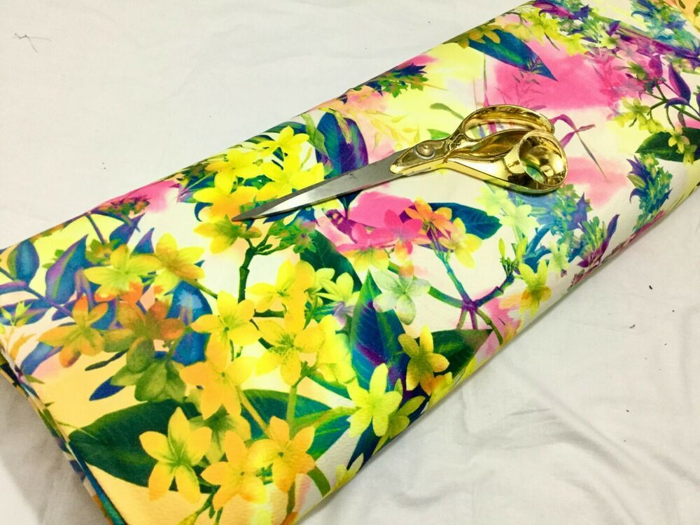 NEW*L//Weight Scuba Crepe Stretch Jersey Floral Print Dress//Craft Fabric*FREE P/&P