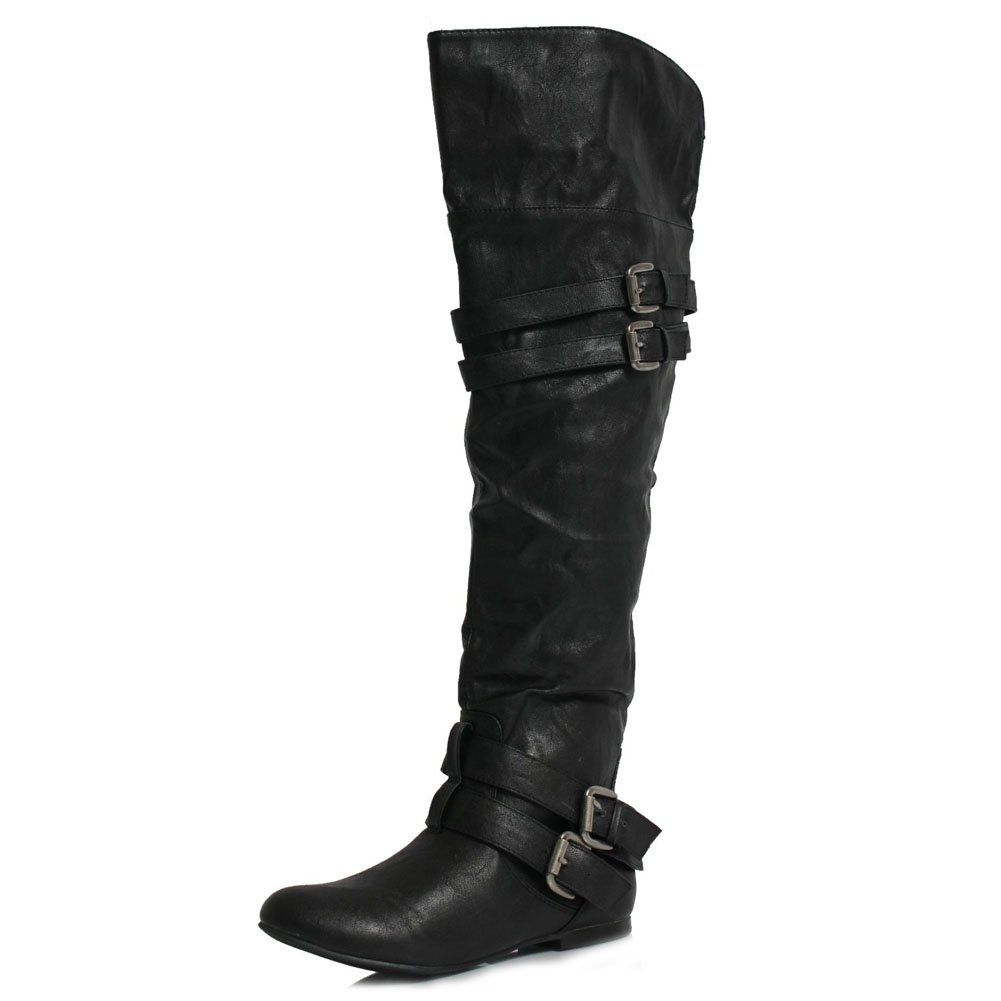 eb5c986a7c8 Amazon.com  Vickie16h Over the Knee Riding Boots Black  Shoes · Knee High  Heel ...