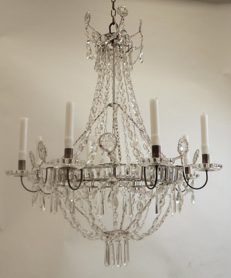 Swedish Neoclassical Style Six Arm Crystal Chandelier Crystal Chandelier Chandelier Chandelier For Sale