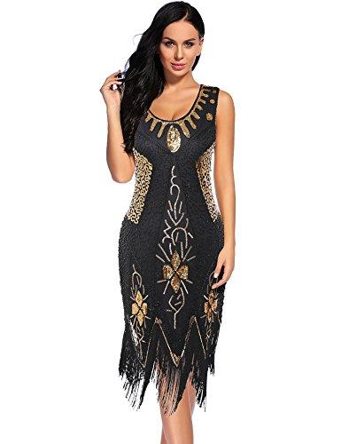 34ad5ad3c15 Women s Flapper Dress 1920s Beaded Sequin Fringed Great Gatsby Dress ...