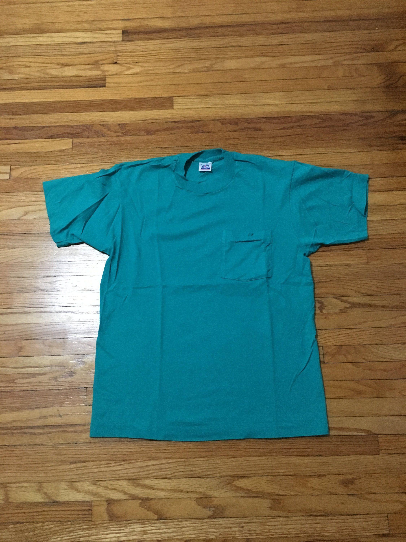 f717f1fd Vintage 90's BVD Plain Aqua Teal Colored Short Sleeve Pocket T-Shirt (free  shipping) by VintageVanShop on Etsy