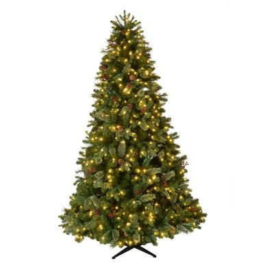 Home Accents Holiday 7 5 Ft Pre Lit Led Westwood Fir Artificial Christmas Tree W Pine Cones And Berries And 650 Warm White Micro Dot Lights Tg76p4924l05 Pre Lit Christmas Tree Traditional Christmas Tree Pine