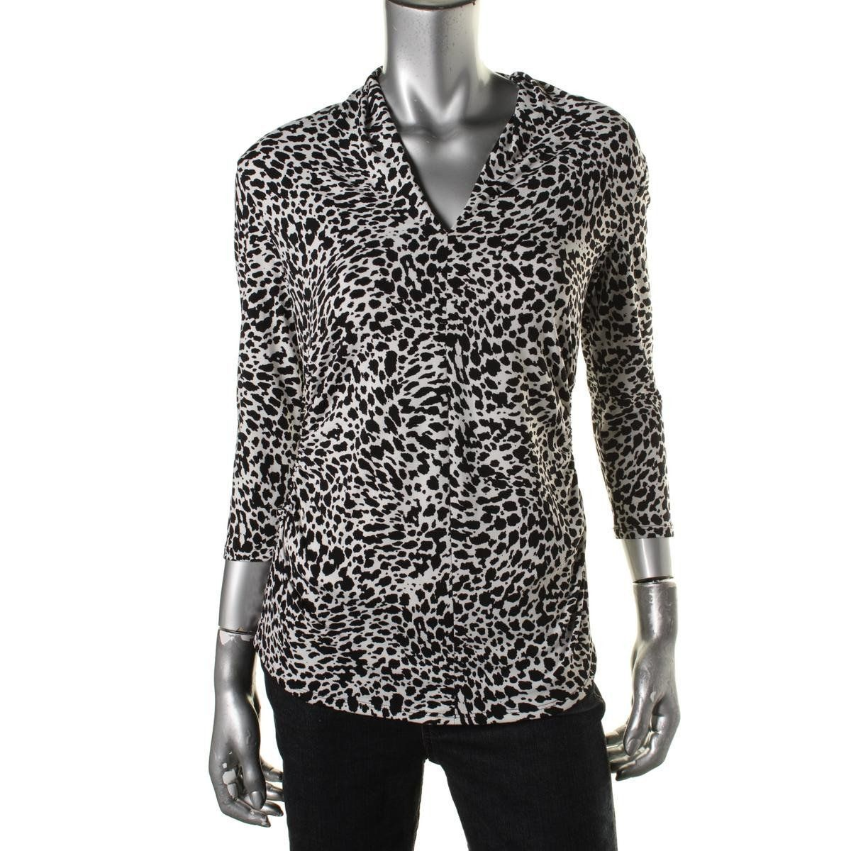 Vince Camuto Womens Animal Print Ruched Pullover Top