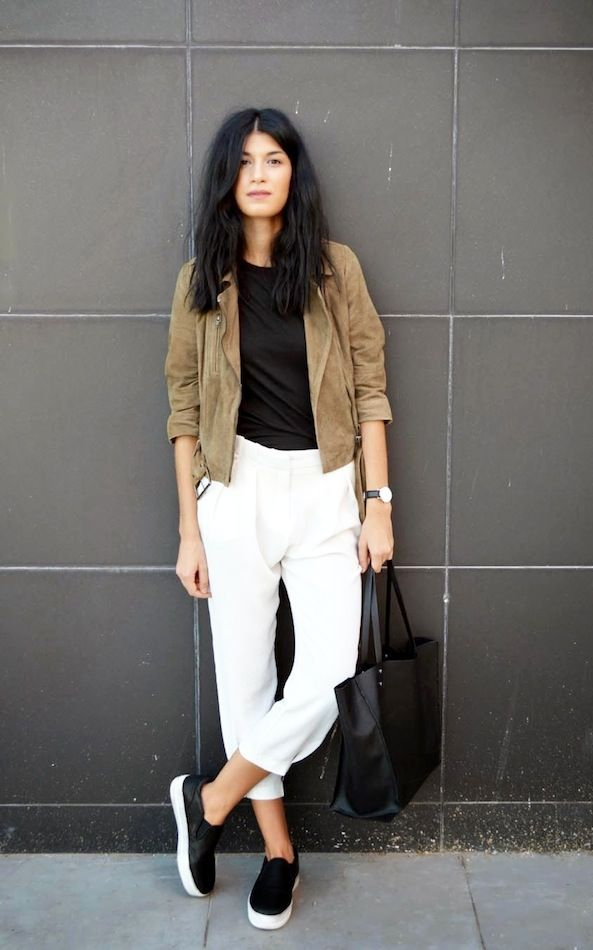 c62eecffa061 A Suede Jacket And White Pants Make For A Cool Spring Look (Le ...