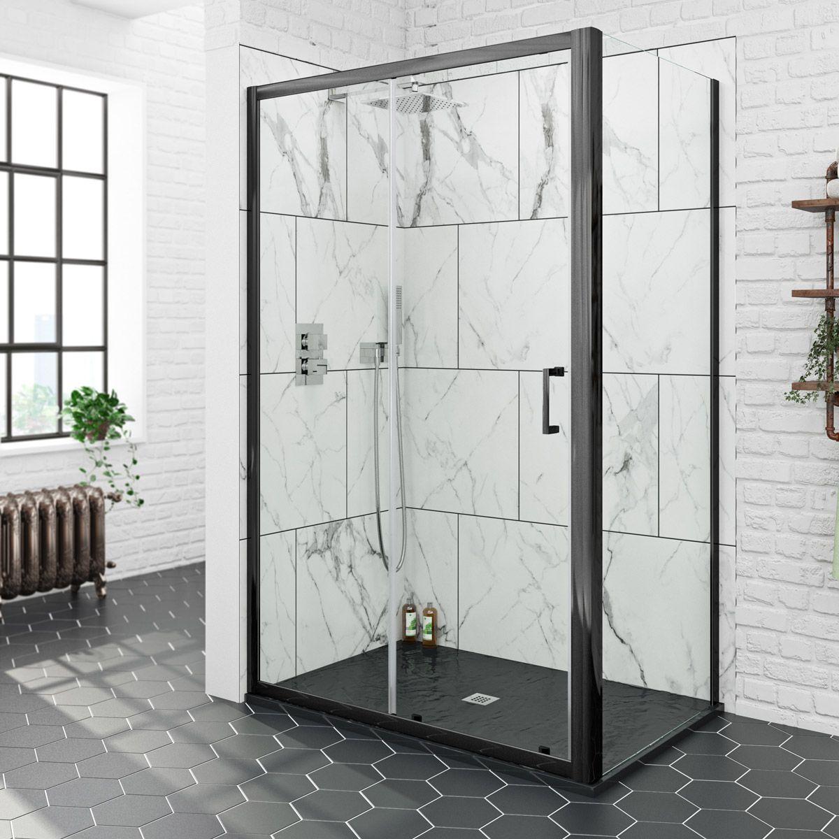 Mode Black 6mm Sliding Shower Enclosure With Black Slate Effect Tray 1200 X 800 Shower Enclosure Rectangular Shower Enclosures Black Shower