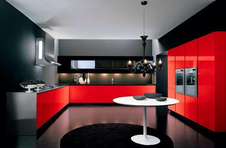 Modern Red Kitchen  Pots N Pans Beautiful Kitchens  Pinterest Delectable Kitchen Design Red And Black Design Decoration
