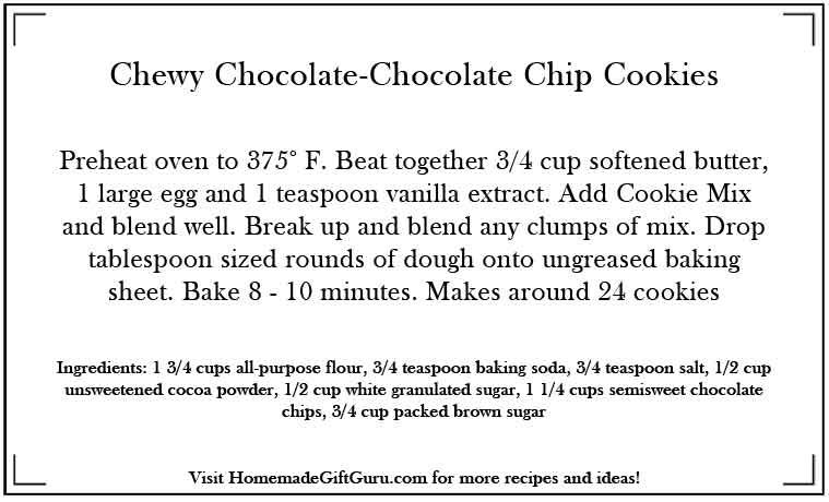 Free Printable Recipe Card For Homemade Double Chocolate Cookies In A Jar Gift Chocolate Cookie Recipes Chewy Chocolate Cookies Cookie Recipes
