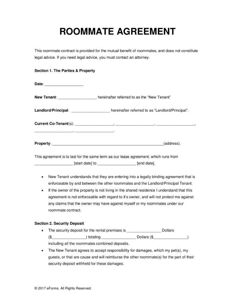 Property Co Ownership Agreement Template Roommate Agreement Room Rental Agreement Roommate Agreement Template
