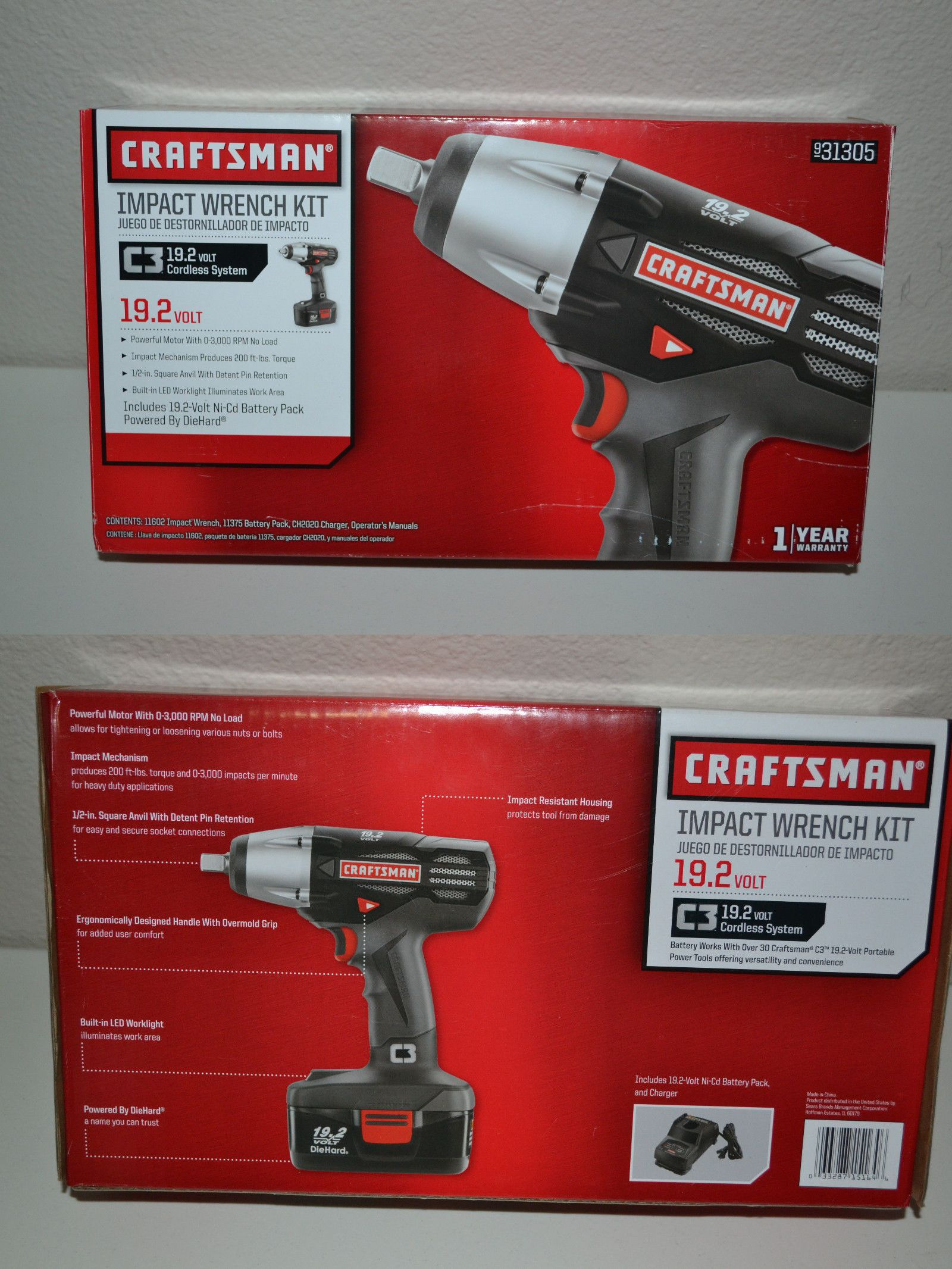 Impact Wrenches 168135 Brand New Craftsman C3 19 2 V Cordless 1 Drive Wrench