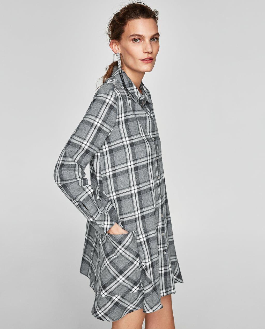 Checked Shirt Dress Mini Dresses Woman Sale Zara United States