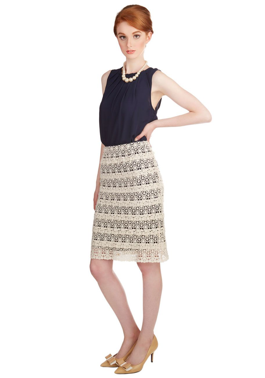 8265030e8a First Day of Work It Skirt. For your office debut, make a first impression  that will charm your coworkers by wearing this ivory, lace-layered skirt.