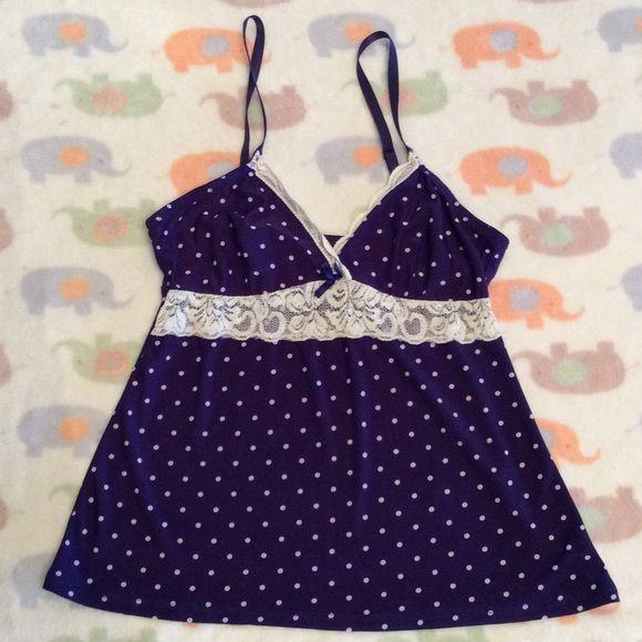 68e9f4a656 Marilyn Monroe Silky Intimates Top NWOT Purple polka dots Marilyn Monroe  Intimates   Sleepwear Pajamas