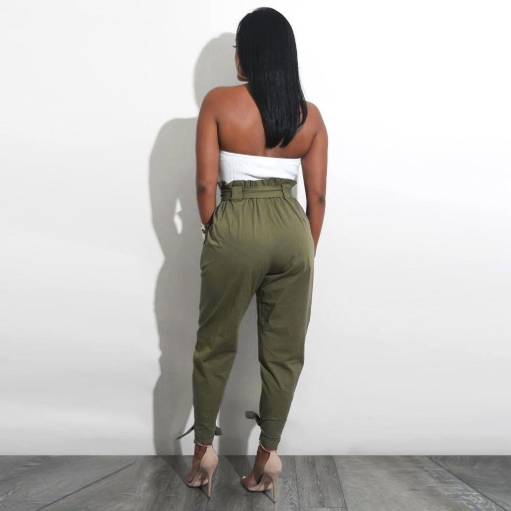 0a59f028a Minisoya Women Cargo Pant Slacks Belted High Waist Bowknot Bandage Trousers  Ladies Party Casual Loose Pants Army Green L * See the image link even more  ...