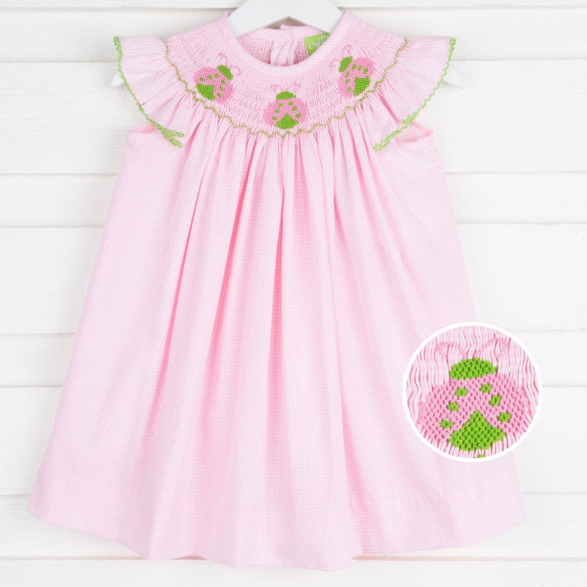 Ladybug Smocked Dress Pink Gingham Pink gingham