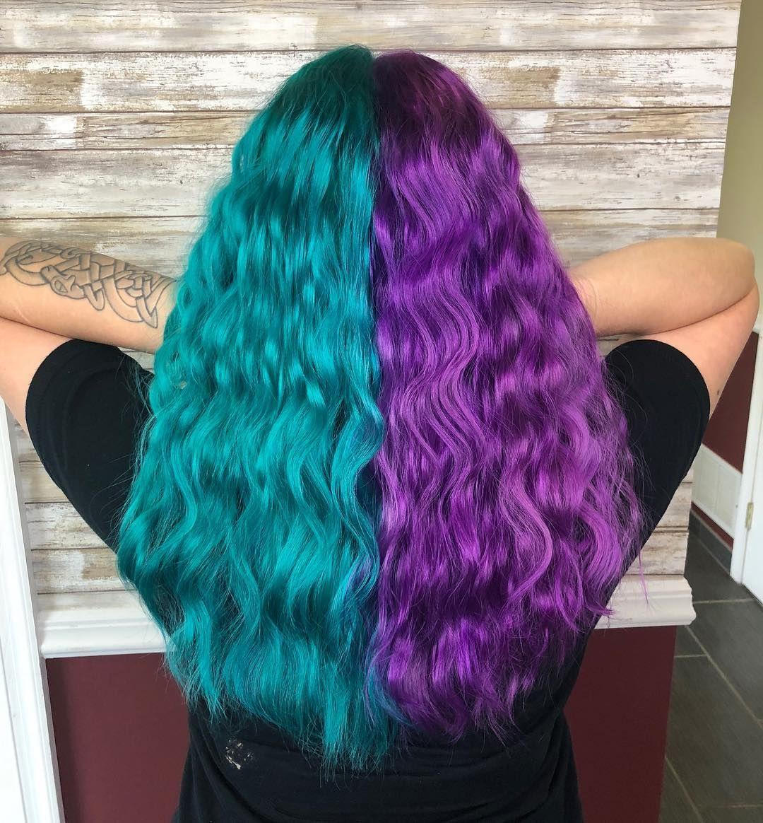 Half Half Colored Hair Blue Hair Purple Hair Half Colored Hair Two Color Hair Split Dyed Hair