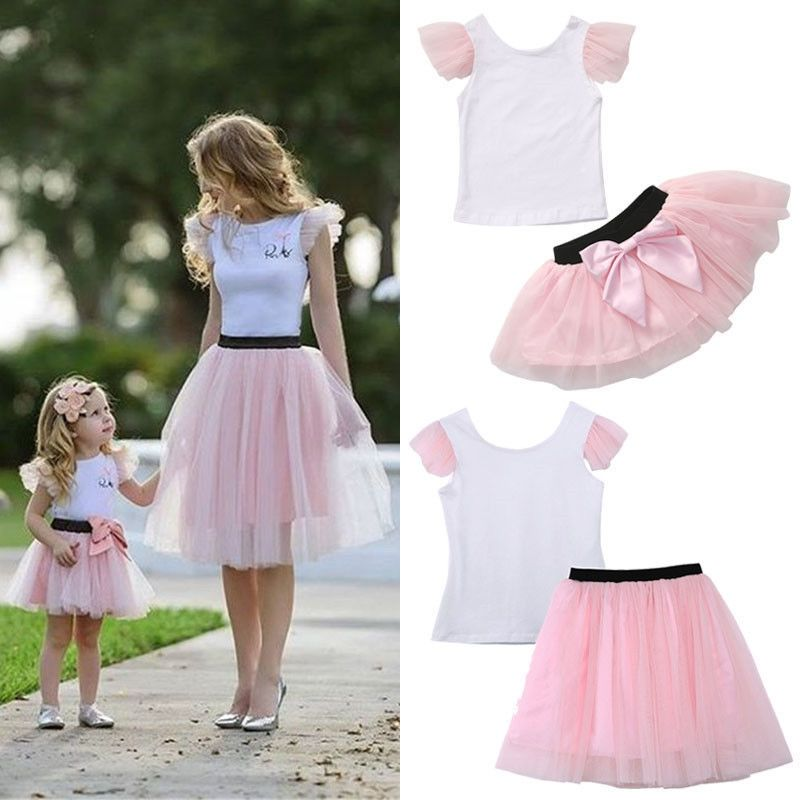 6619d46ad7 Super Cute Mom Girls Summer Casual Clothing Set T-shirt Skirt Tulle Dress  Matching Outfits Family Set
