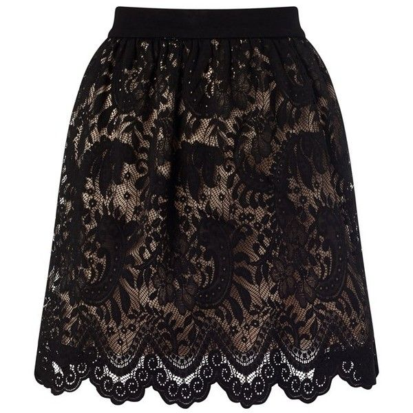 Ariana Grande For Lipsy Lace Skater Skirt (£38) ❤ liked on Polyvore featuring skirts, lipsy, skater skirt, party skirts, flared skirt and knee length lace skirt