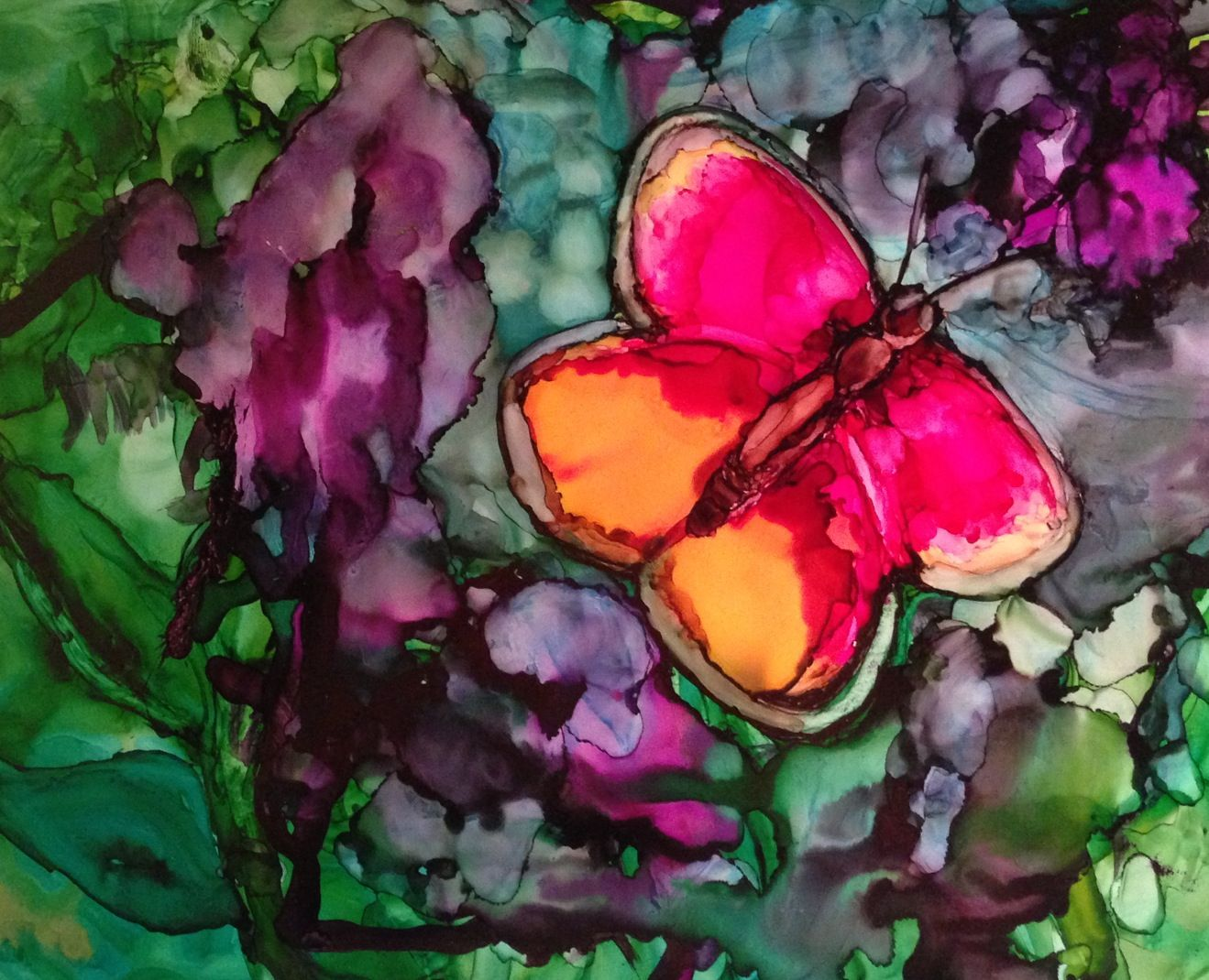 Butterfly 3 in alcohol ink by me, Laurie Henry.  Copyright 2013.