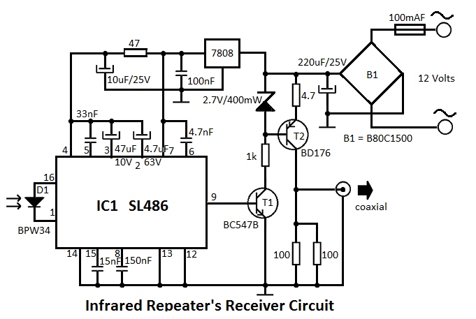 Infrared Repeater System Circuit Circuit Diagram Circuit Robotics Engineering