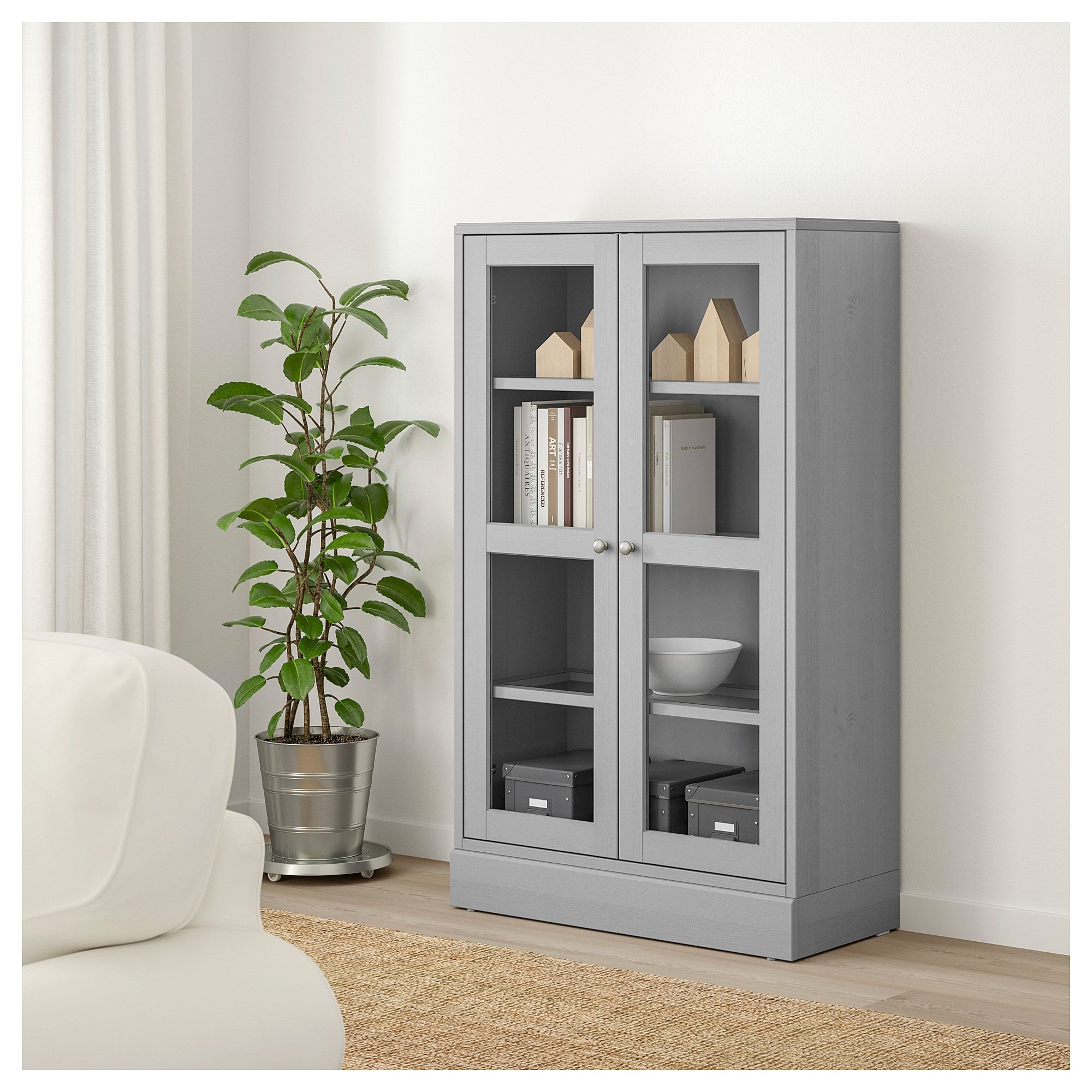 Havsta Glass Door Cabinet With Base Gray Clear Glass 31 7 8x14 5 8x52 3 4 Ikea In 2020 Glass Cabinet Doors Glass Door Ikea