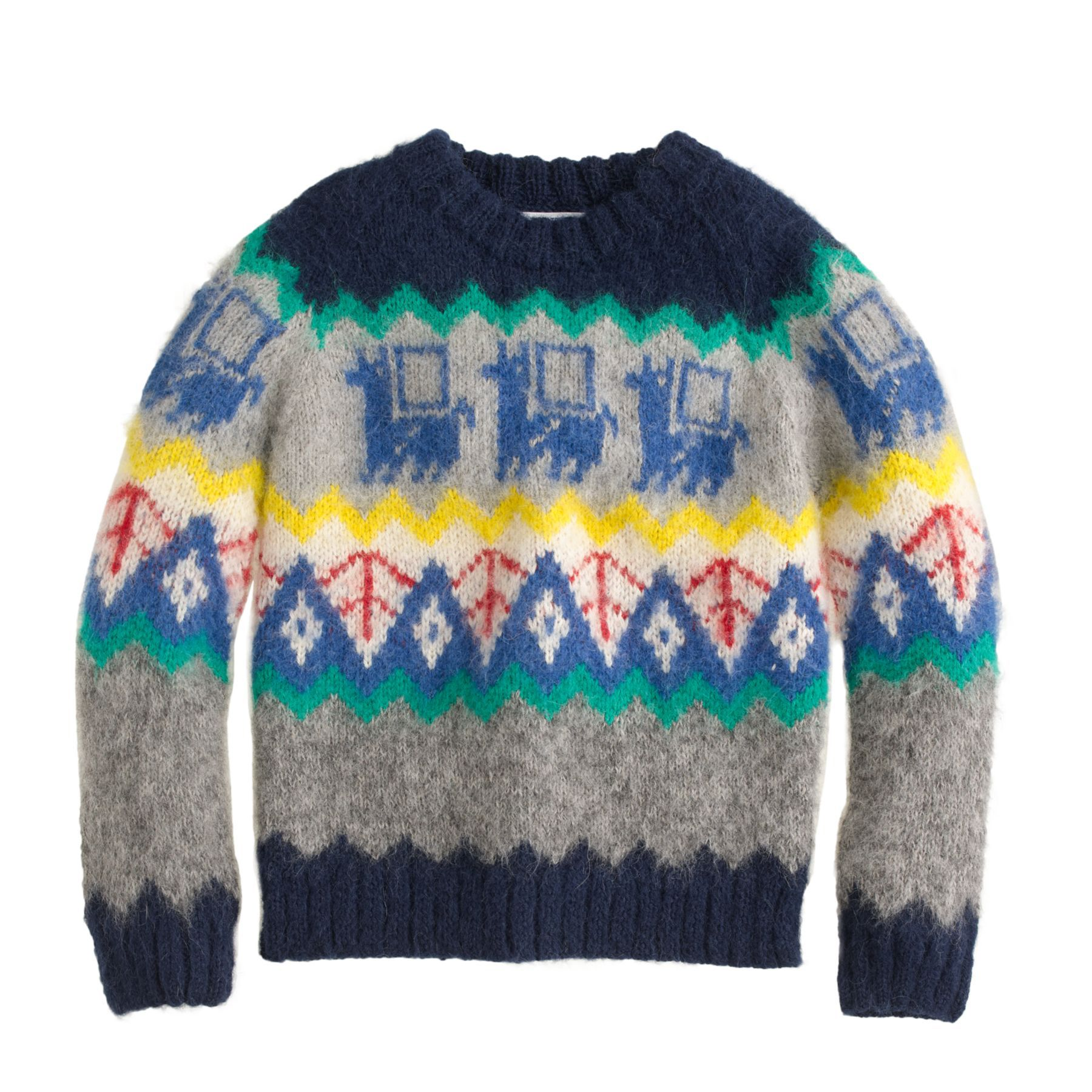 Kids' Industry of All Nations hand-knit sweater in navy jacquard at J.Crew.