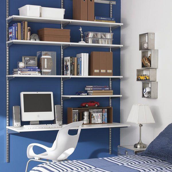 The Container Store White Platinum Elfa Boy S Room Shelves In Bedroom Bedroom Desk Organization Elfa Shelving