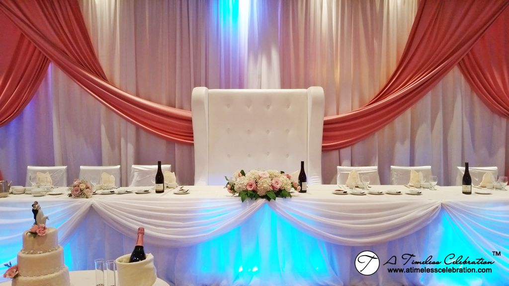 Modern chic wedding reception love seat w backdrop draping pink we have different wedding reception decorations available for our brides and grooms junglespirit Images