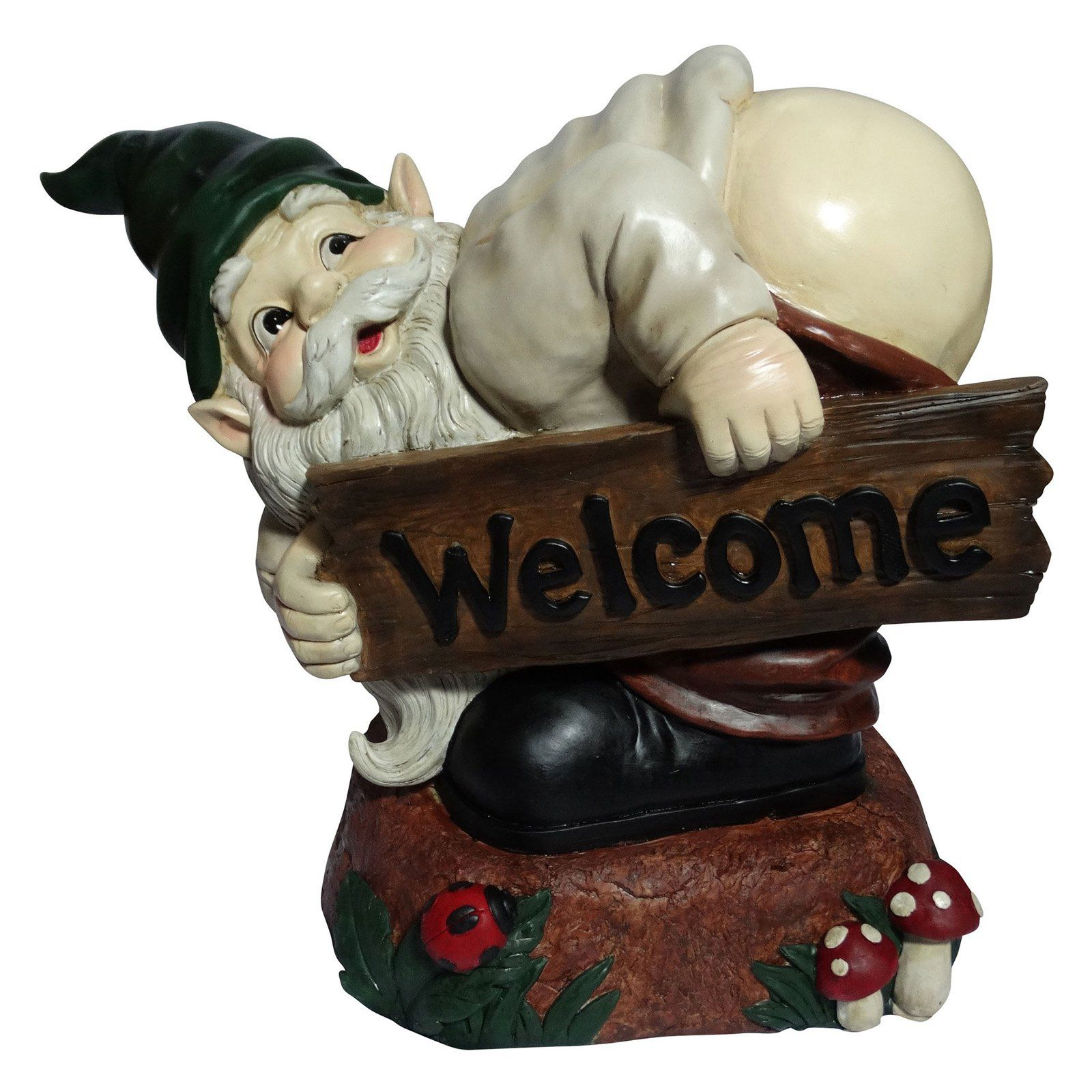 Welcome Statues Garden Alpine Corporation Alpine Mooning Gnome With Welcome Wood Sign