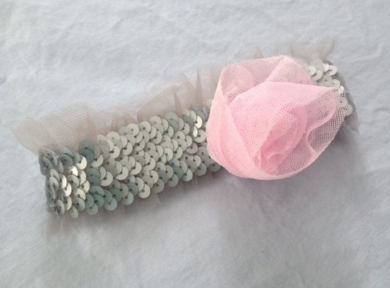 Grey Sequined Headband with Pink Tulle Flower by AmandaKateL, $10.00